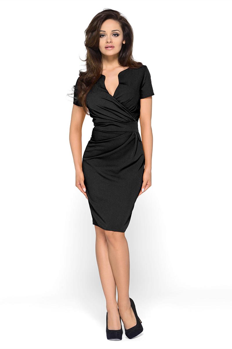 wrap black mini dress for pear shaped women