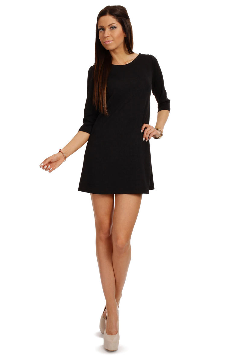 black A-line mini shift dress