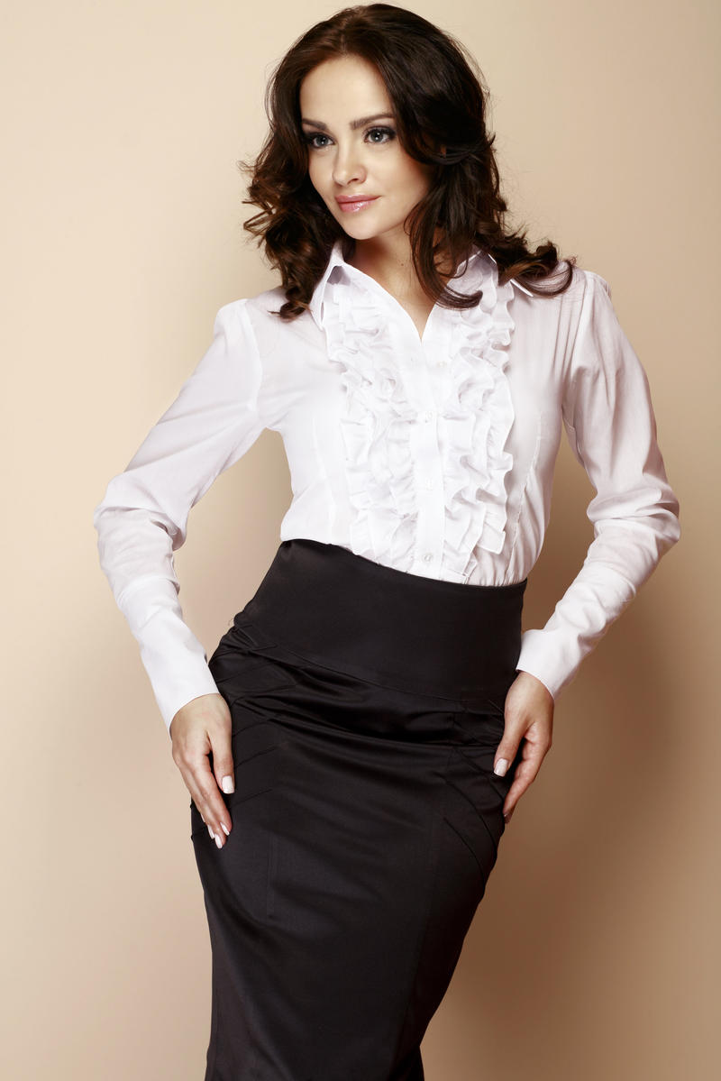 White Ruffled Blouse with Fanned Sleeves