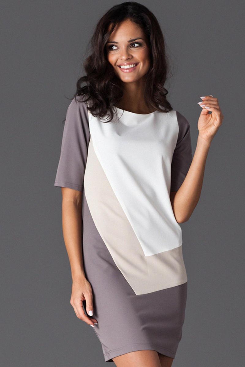 Beige Asymmetrical Color Block Shirt Dress
