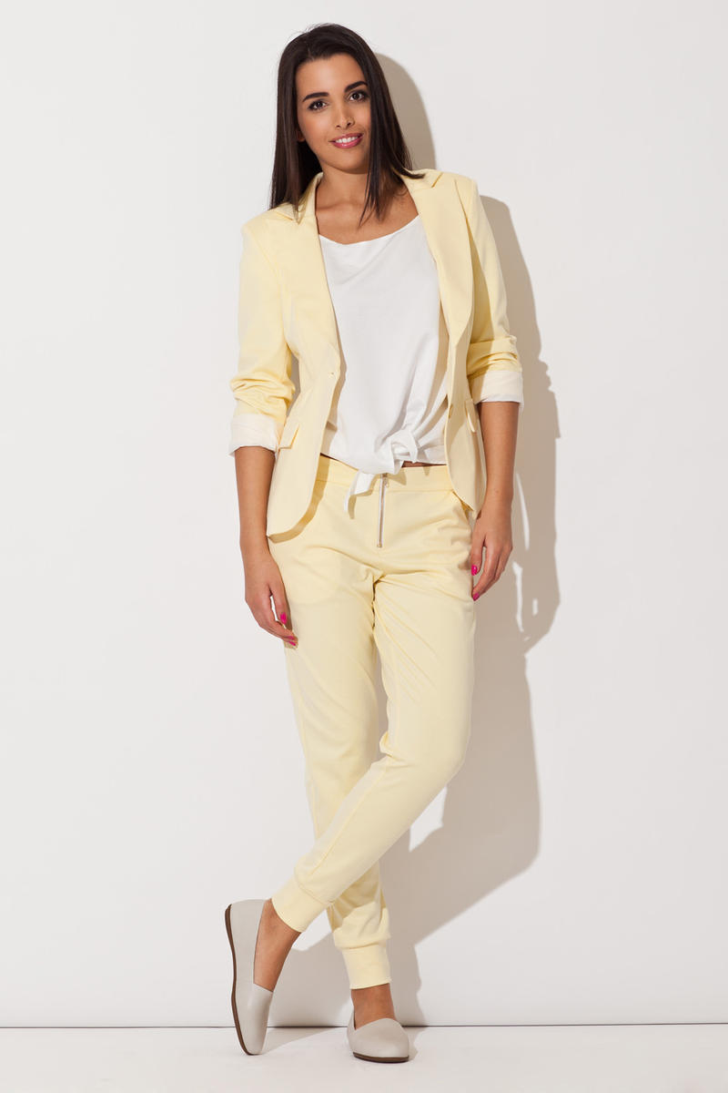 Yellow Long Lapel Blazer with Matching Pants