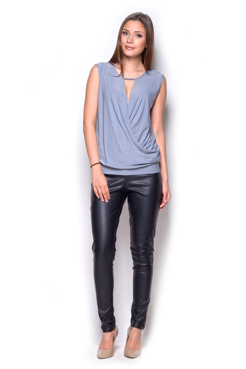 Grey Sleeveless Drape Blouse with Front Strap