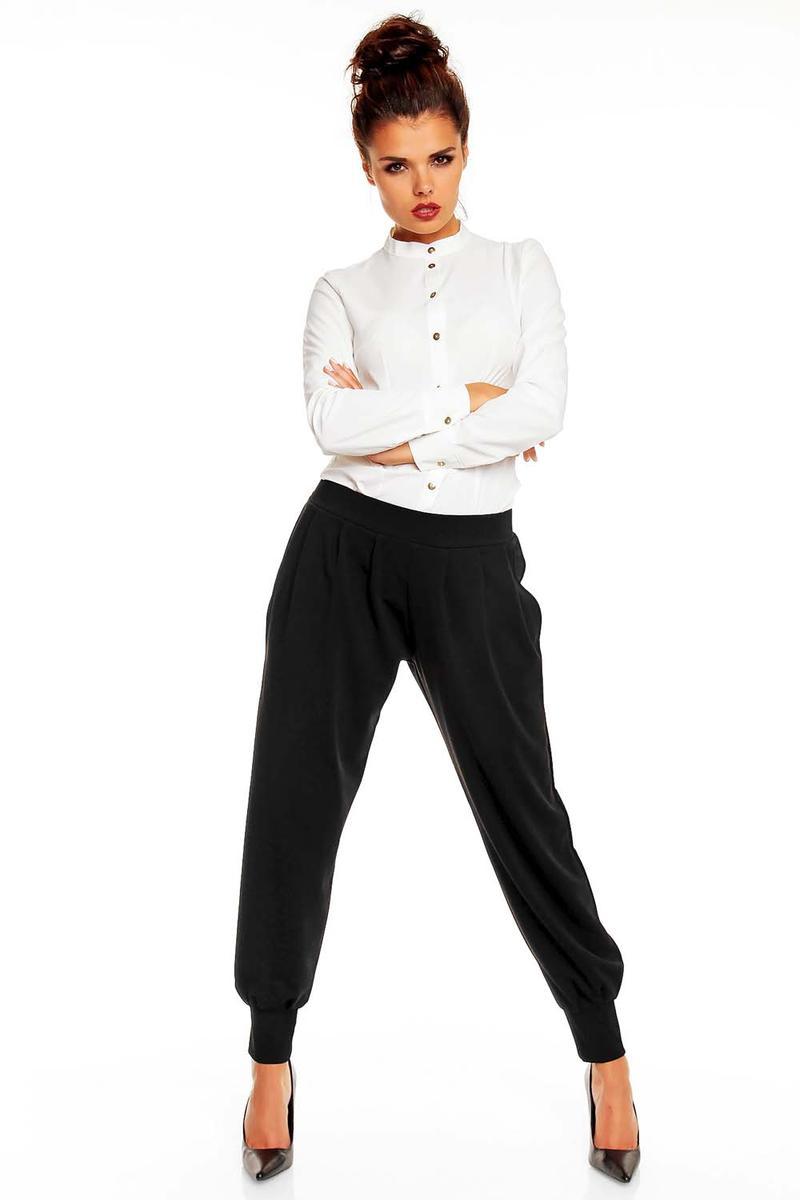 Stretchable Waist Pleated Aladin Black Pants