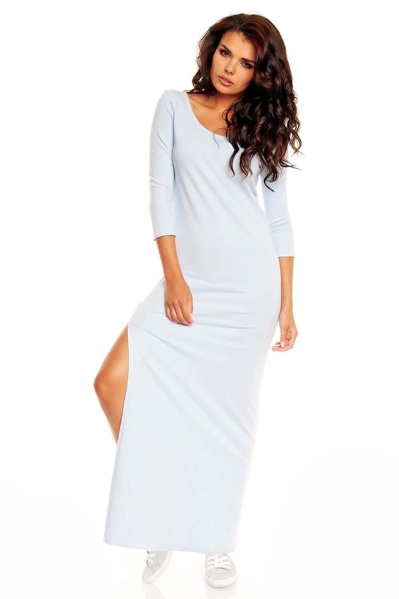 White Maxi Slit Dress with Pussy Bow Back