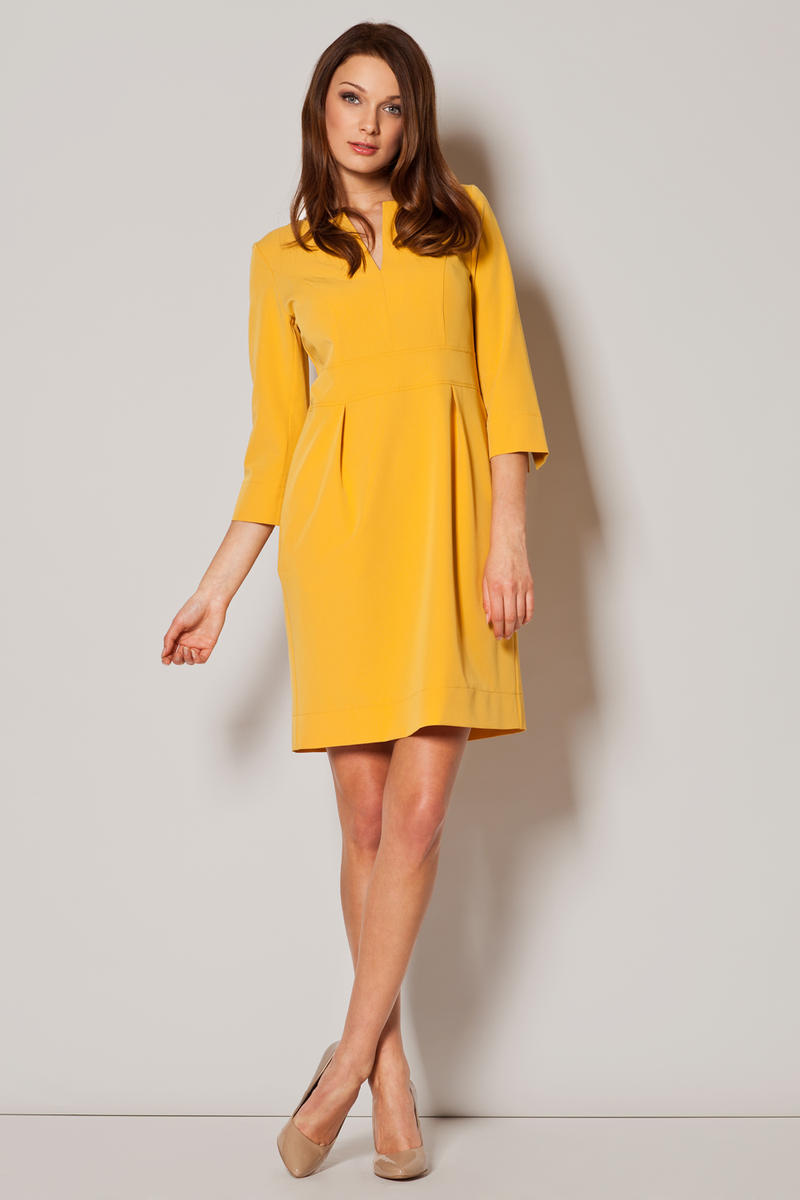 Yellow Slit Neckline Pleated Midi Length Dress
