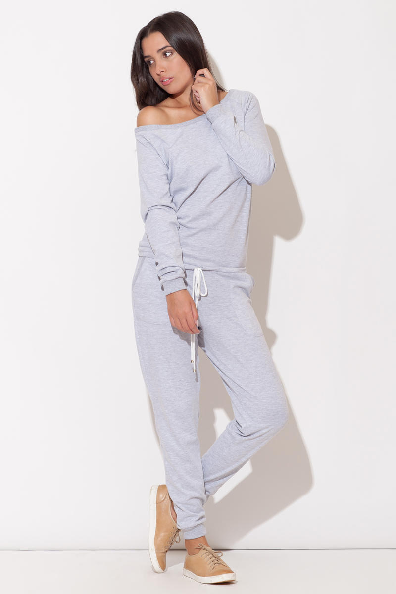 Off the Shoulder Grey Jumpsuit with Pull String Waist
