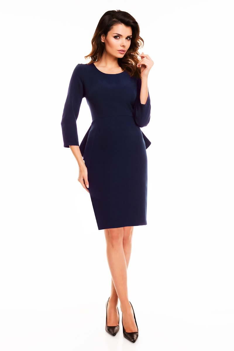 Navy blue peplum dress with back slit