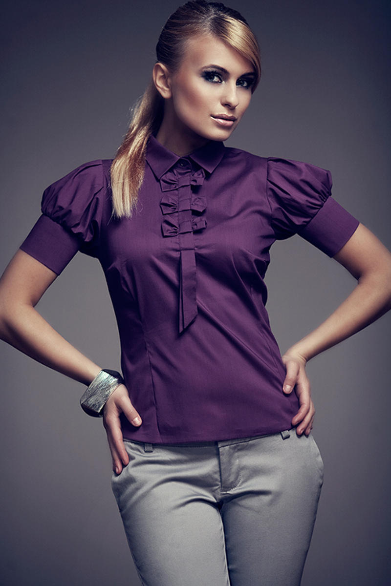 Aubergine Collared Blouse with Bow Details and Pleated Cap Sleeves
