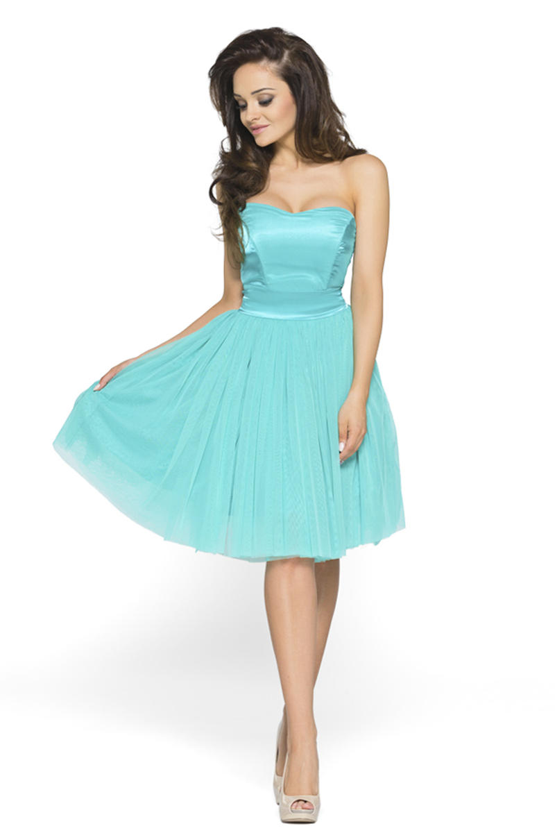 Sweet Heart Chiffon Turquoise Dress with Satin Top