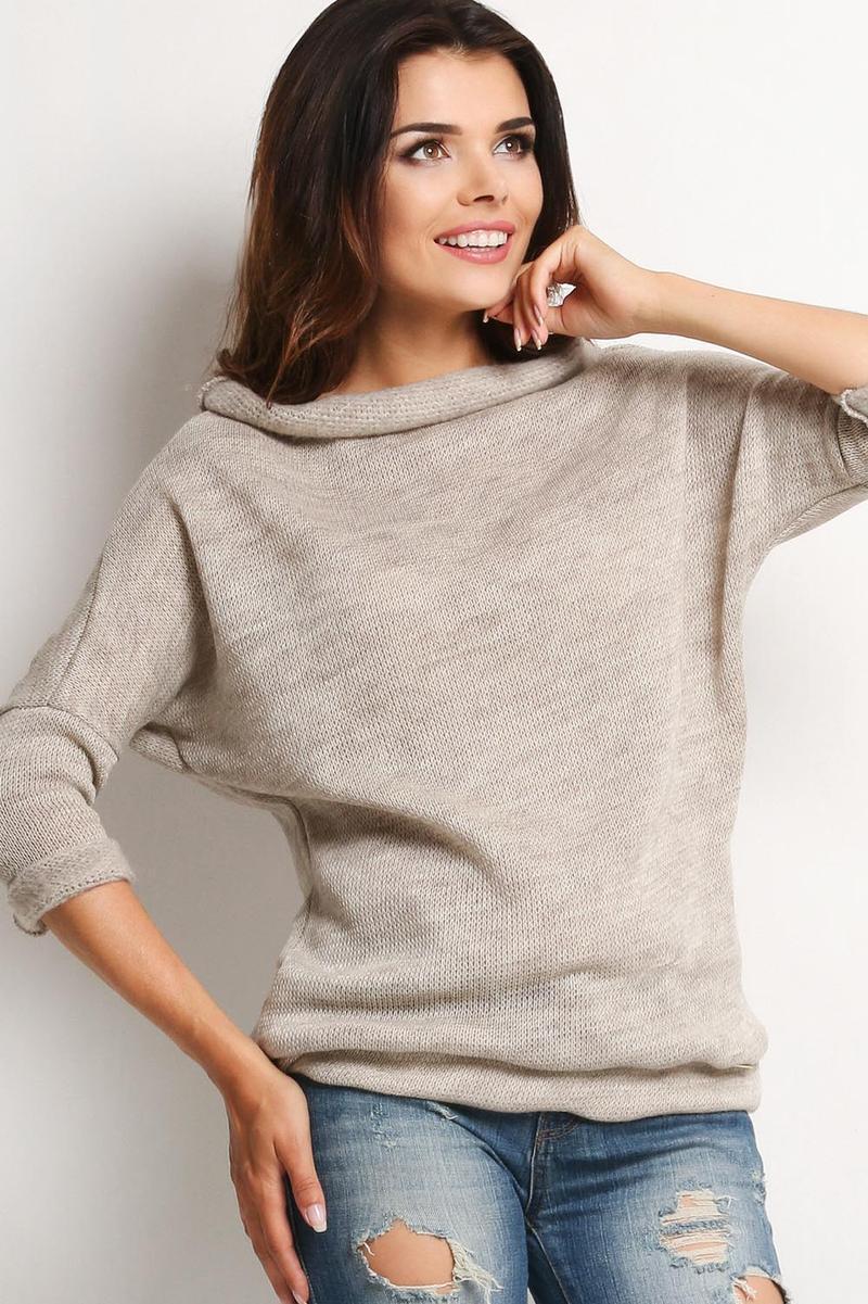 Scoop Cowl Neck Beige Sweater