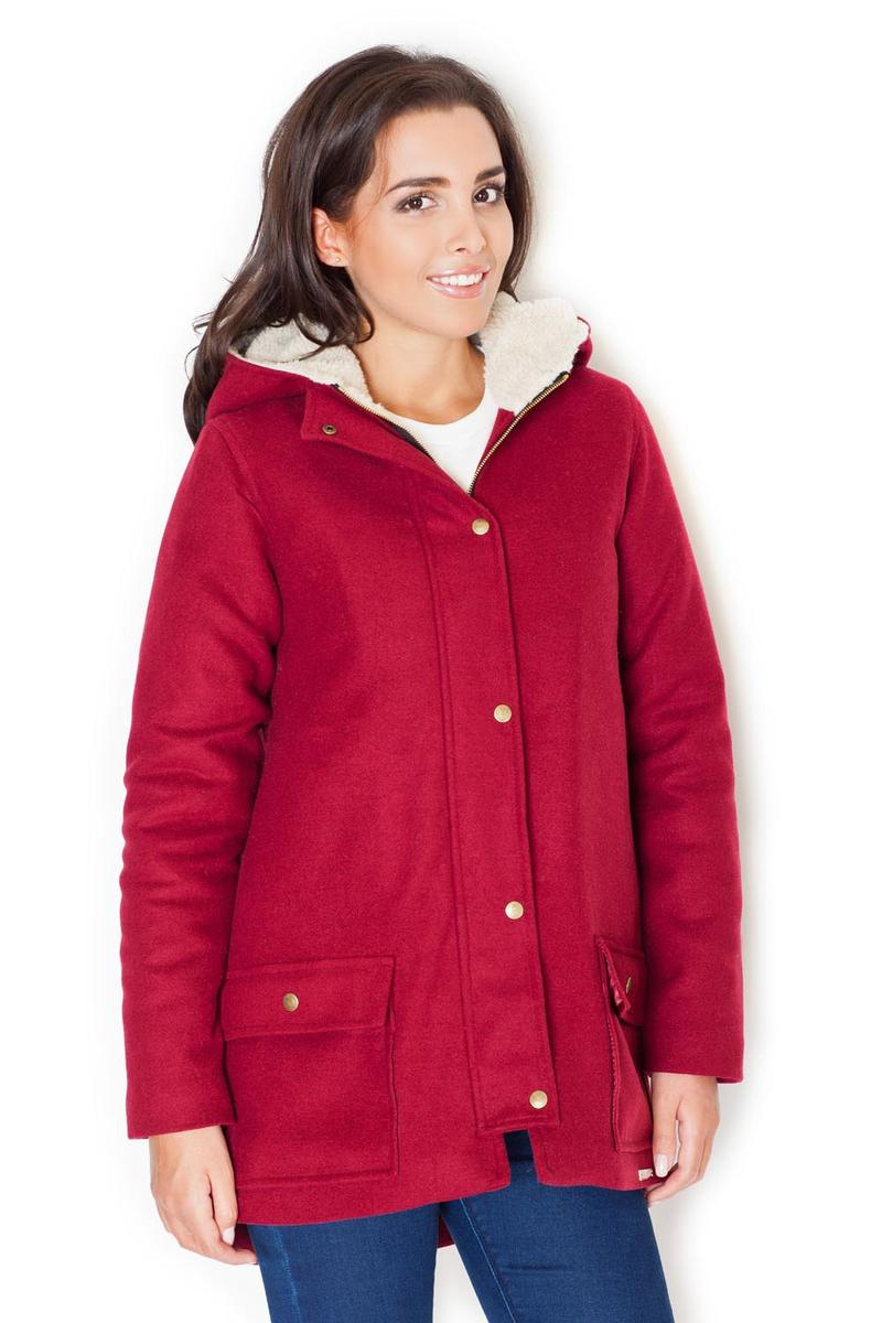 Red Coat with Fur-Lined Hood