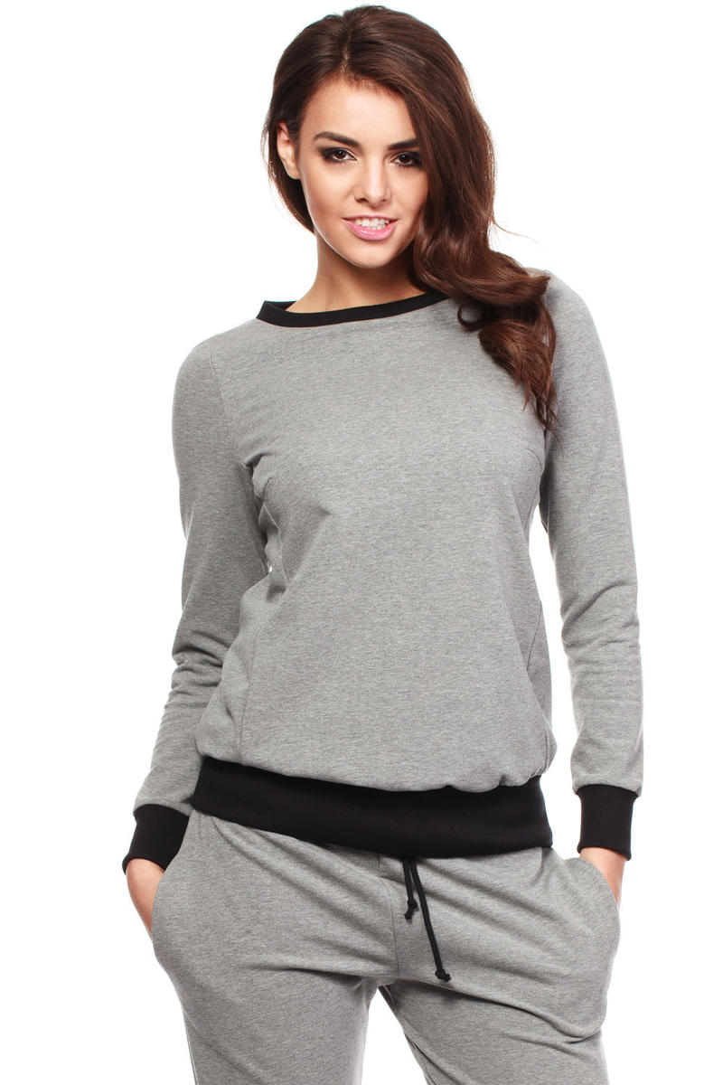 Grey Dynamic Sporty Sweatshirt Long-sleeve Blouse