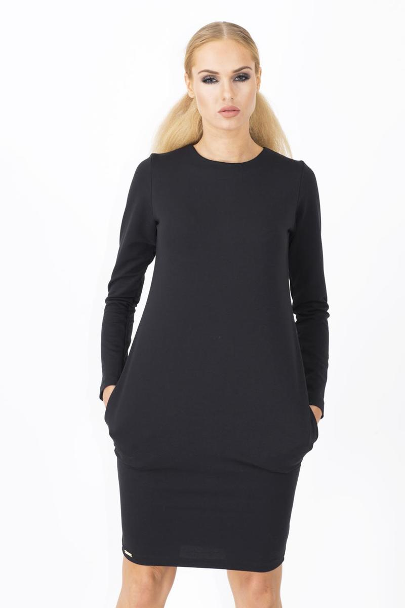 Long Sleeves Black Dress with Side Pockets