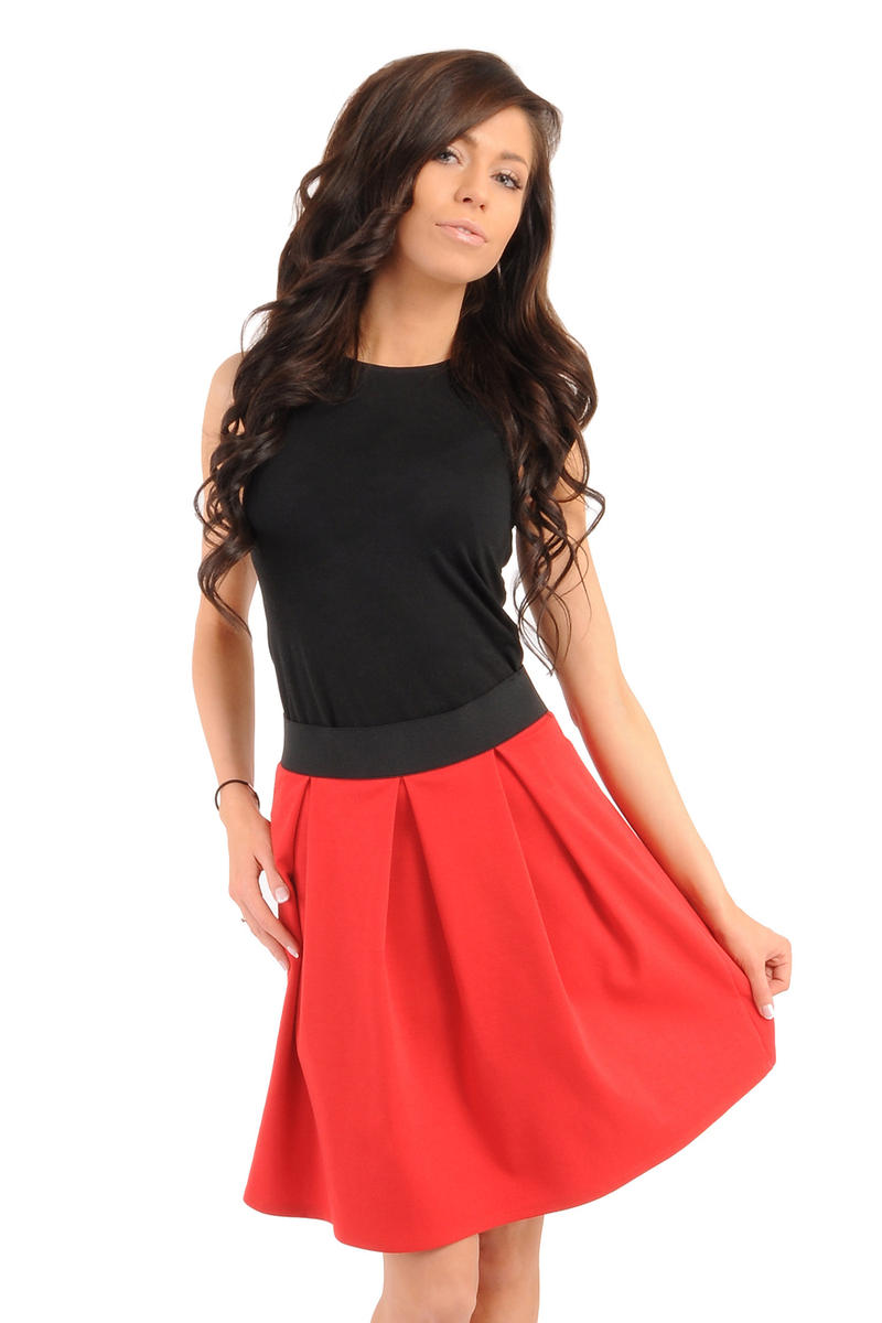 Image For Deep Pleat Short Red Skirt