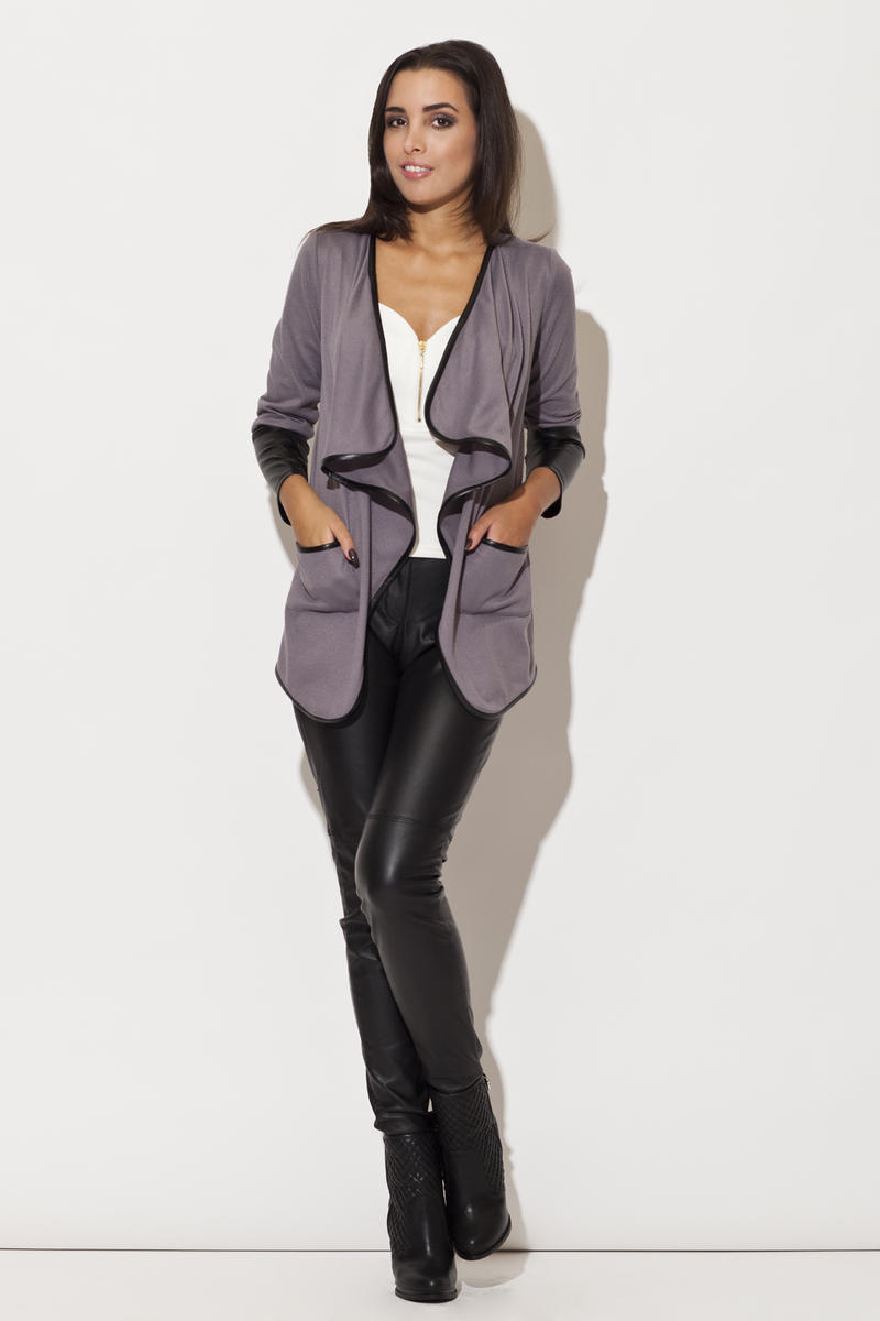 Trimmed Waterfall Grey Jacket with Fitted Leather Cuffs