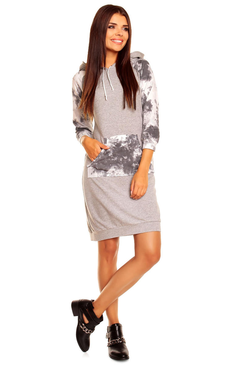 Grey Hooded Dress with Camouflage Details