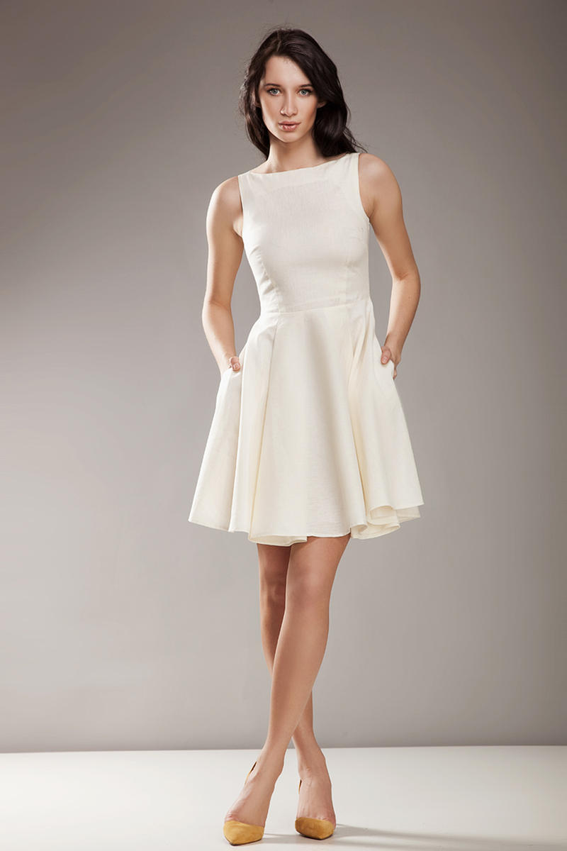 Bateau Neck Sleeveless Skater Beige Dress