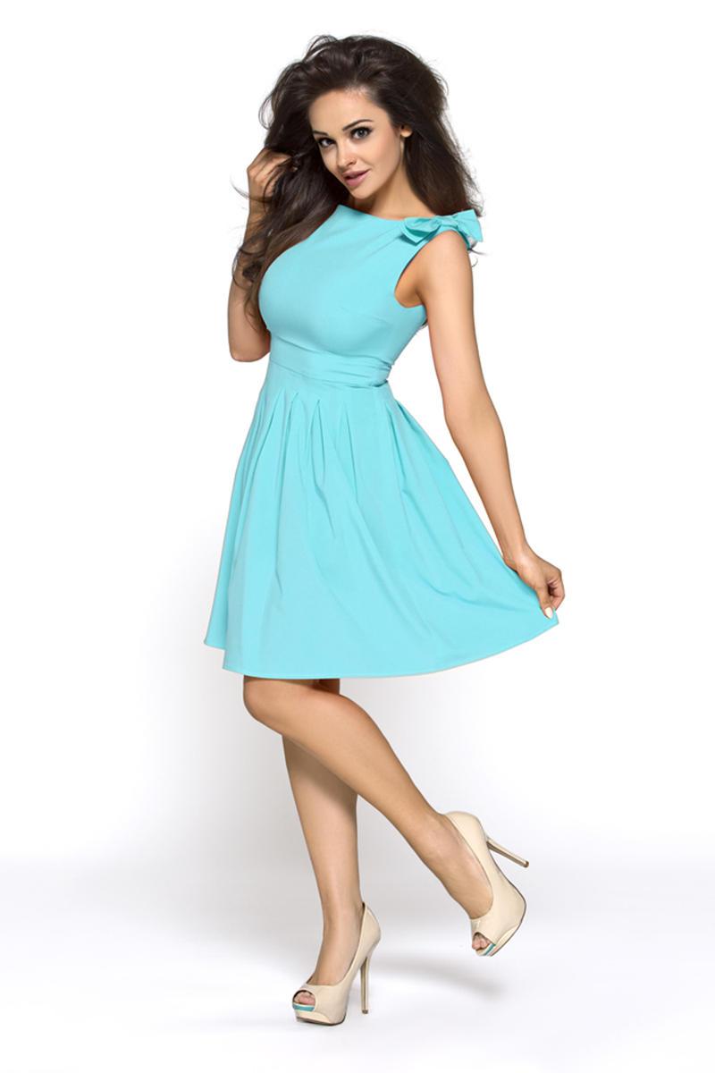 Sea Blue Shoulder Bow Sleeveless Flippy Dress