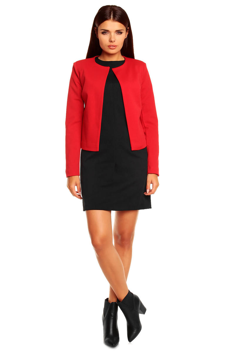 Red Collarless Cropped Jacket for Women