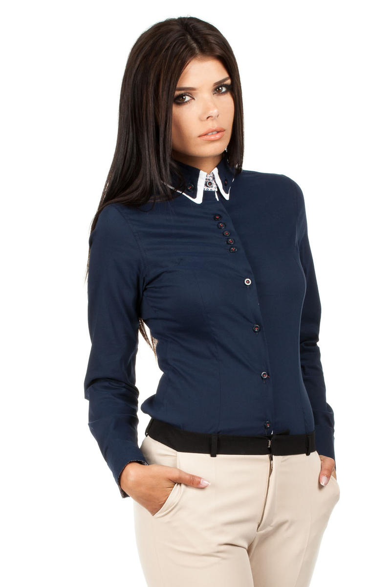 Navy Button Down Collar Executive Shirt