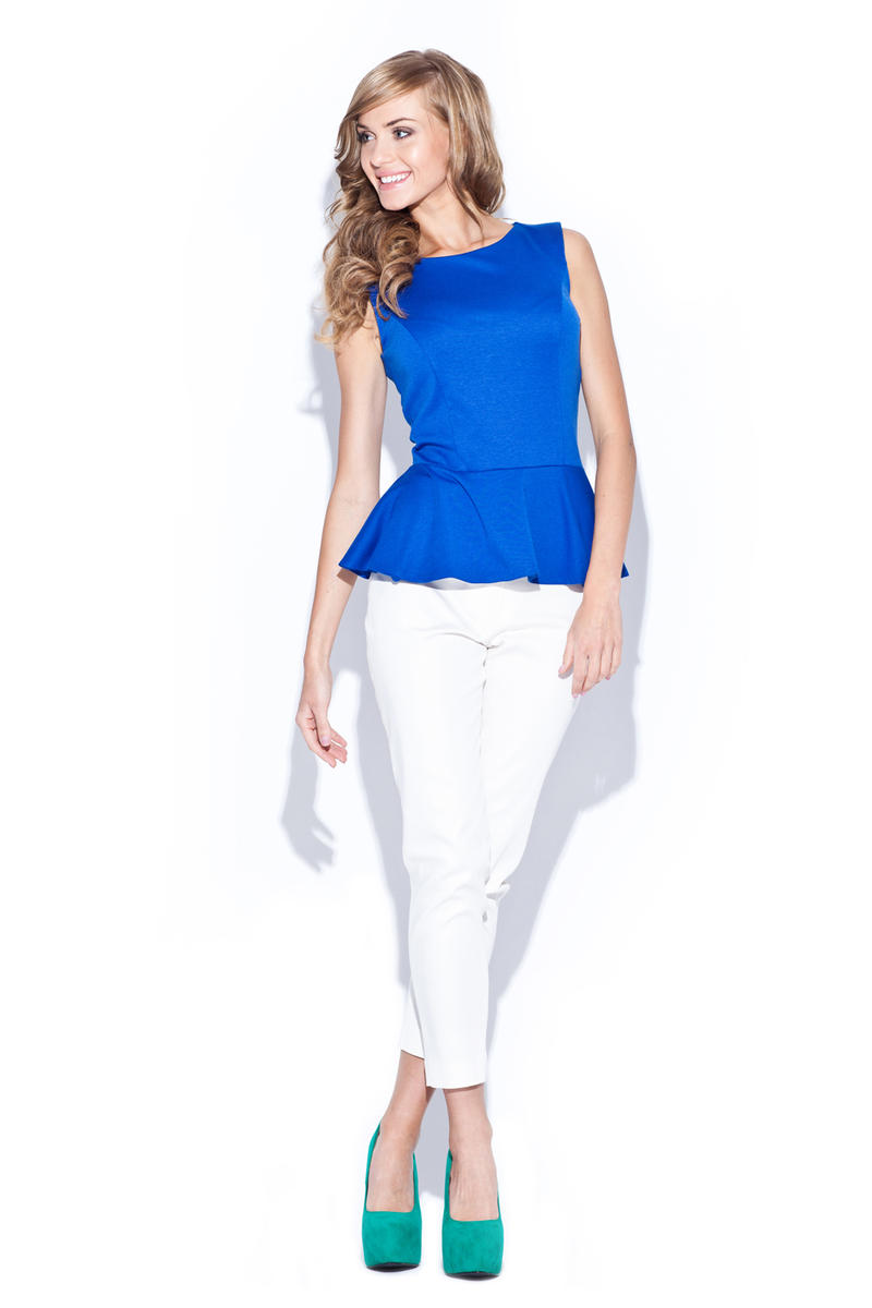 Blue Sleeveless Top with Frilled Hemline