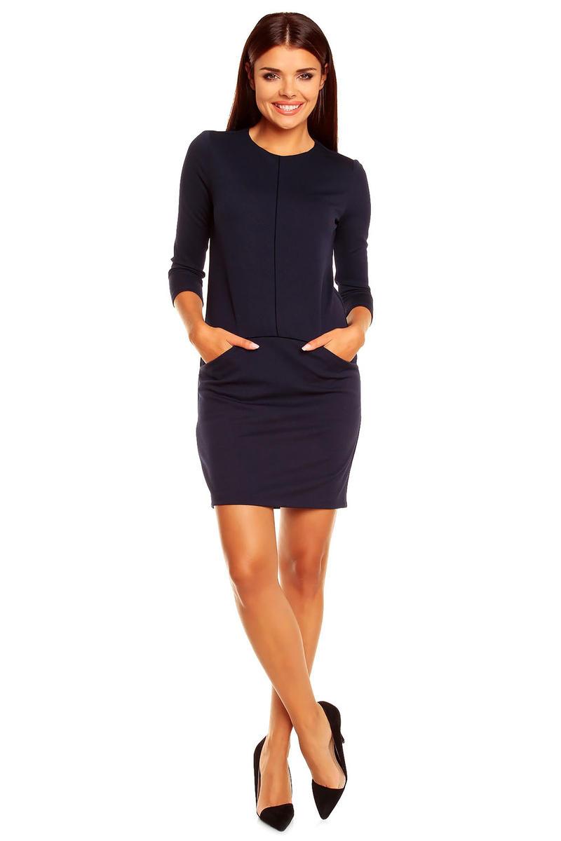 Navy Blue Grecian Chic Block Style Dress