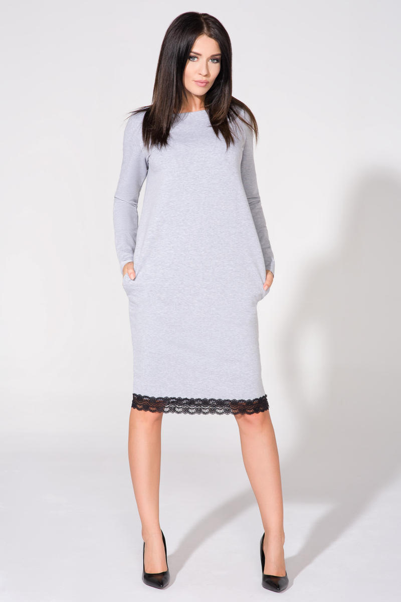 Light grey tunic dress with contrast lace trim