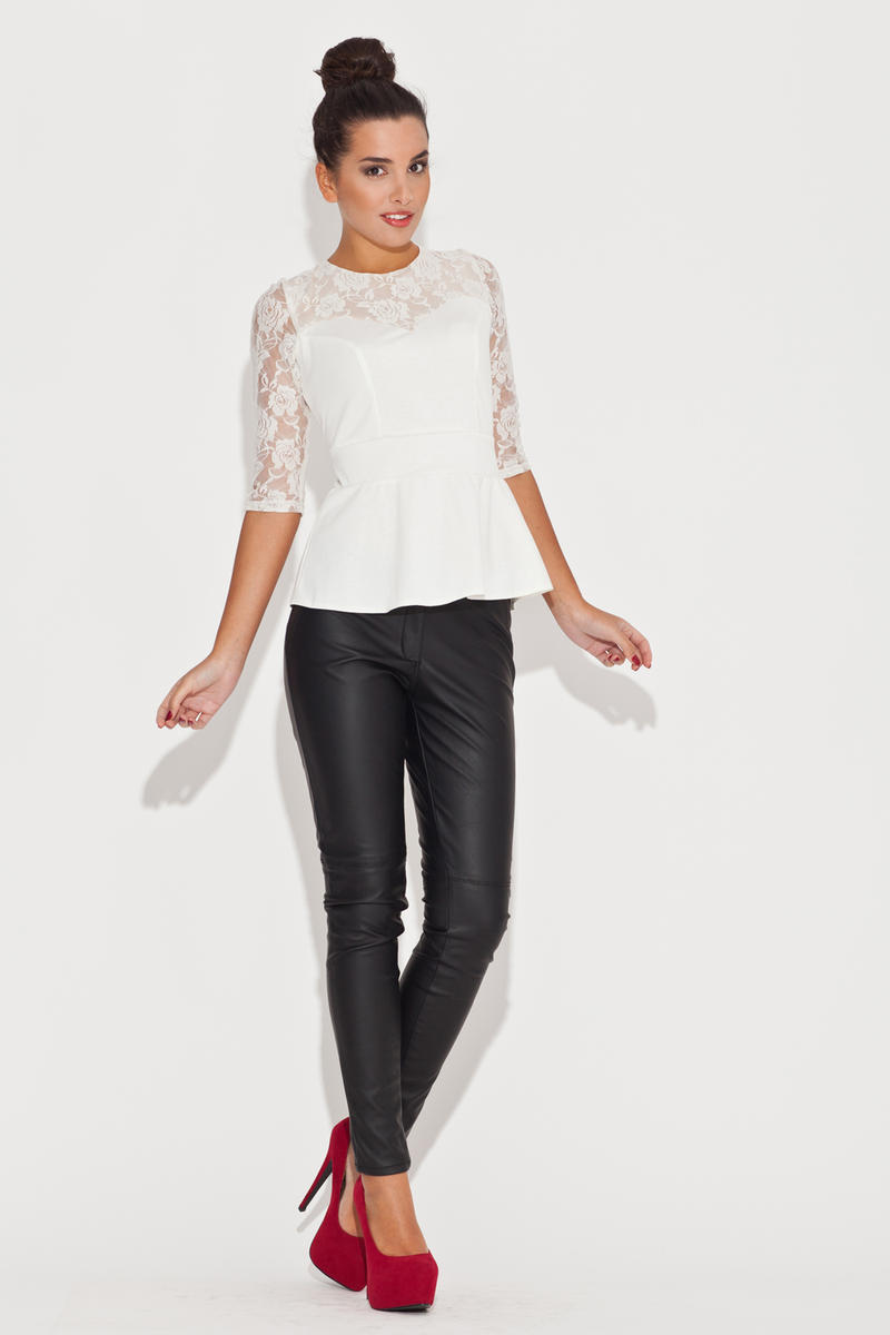 Lace Top Frill Waist Ecru Top with Elbow Sleeves