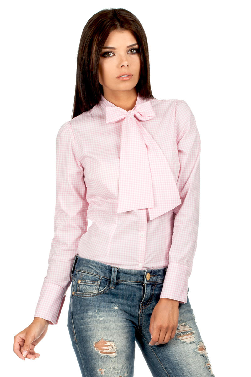 Pink Pussy Bow Collar Pinstripe Girly Shirt