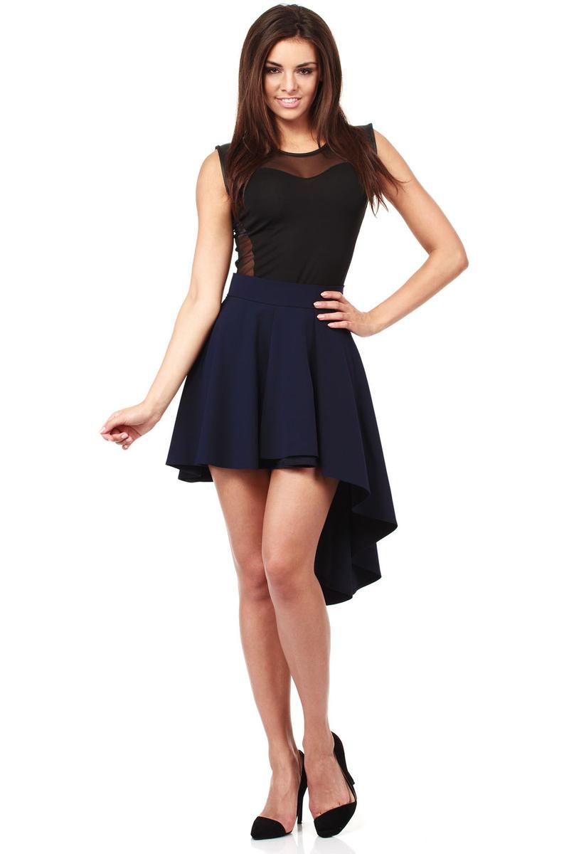 Navy Blue Flamenco Salsa Dancing Pleated Skirt