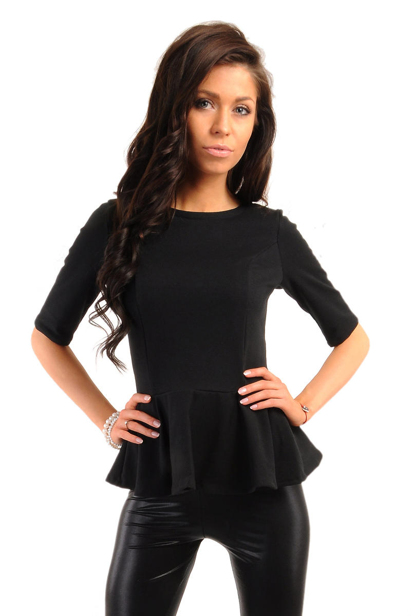 Crew Neck Seamed Frill Hem Black Top