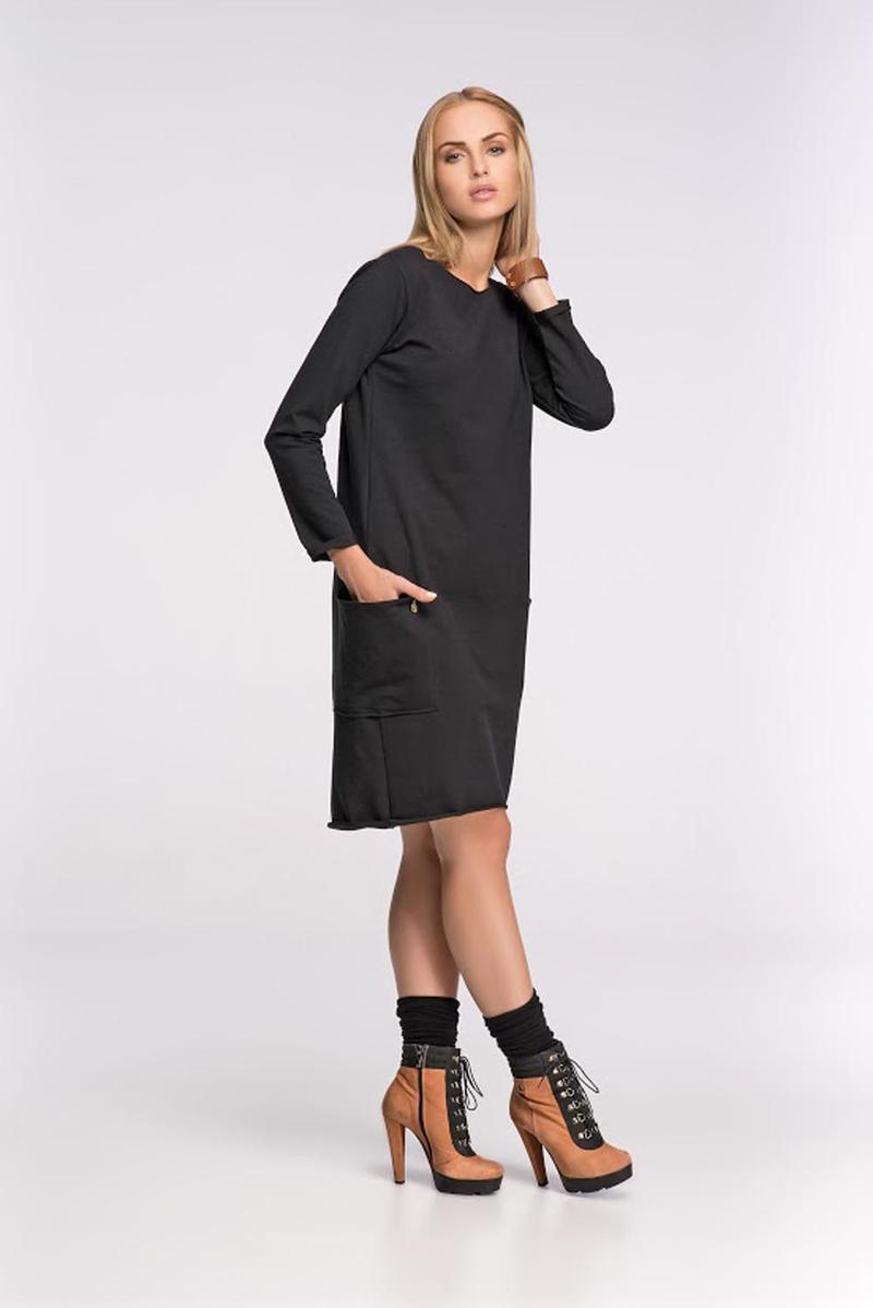Box Shaped Black Shift Dress