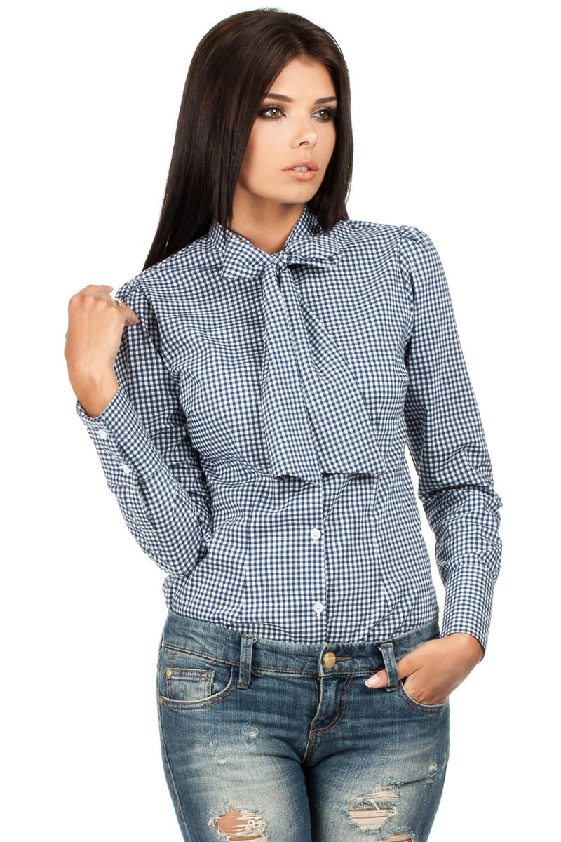 Navy Pussy Bow Collar Pinstripe Girly Shirt