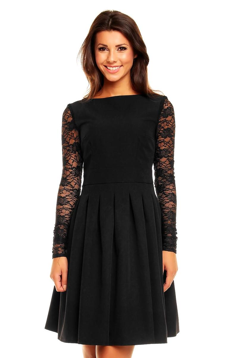 Black Sabrina Collar Lacey Pleat Dress