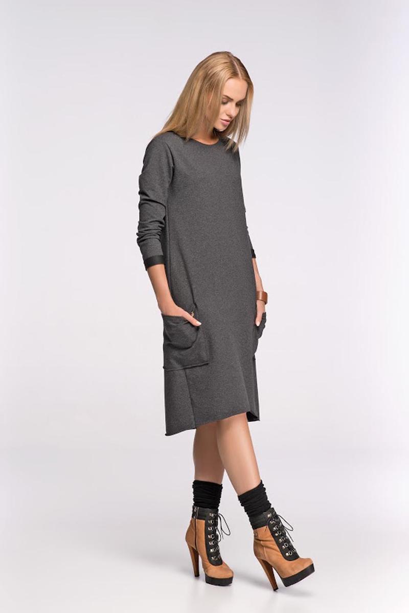 Box Shaped Grey Shift Dress