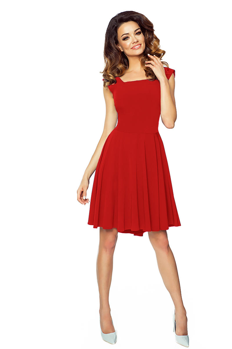 Red square neckline flared dress with back bow