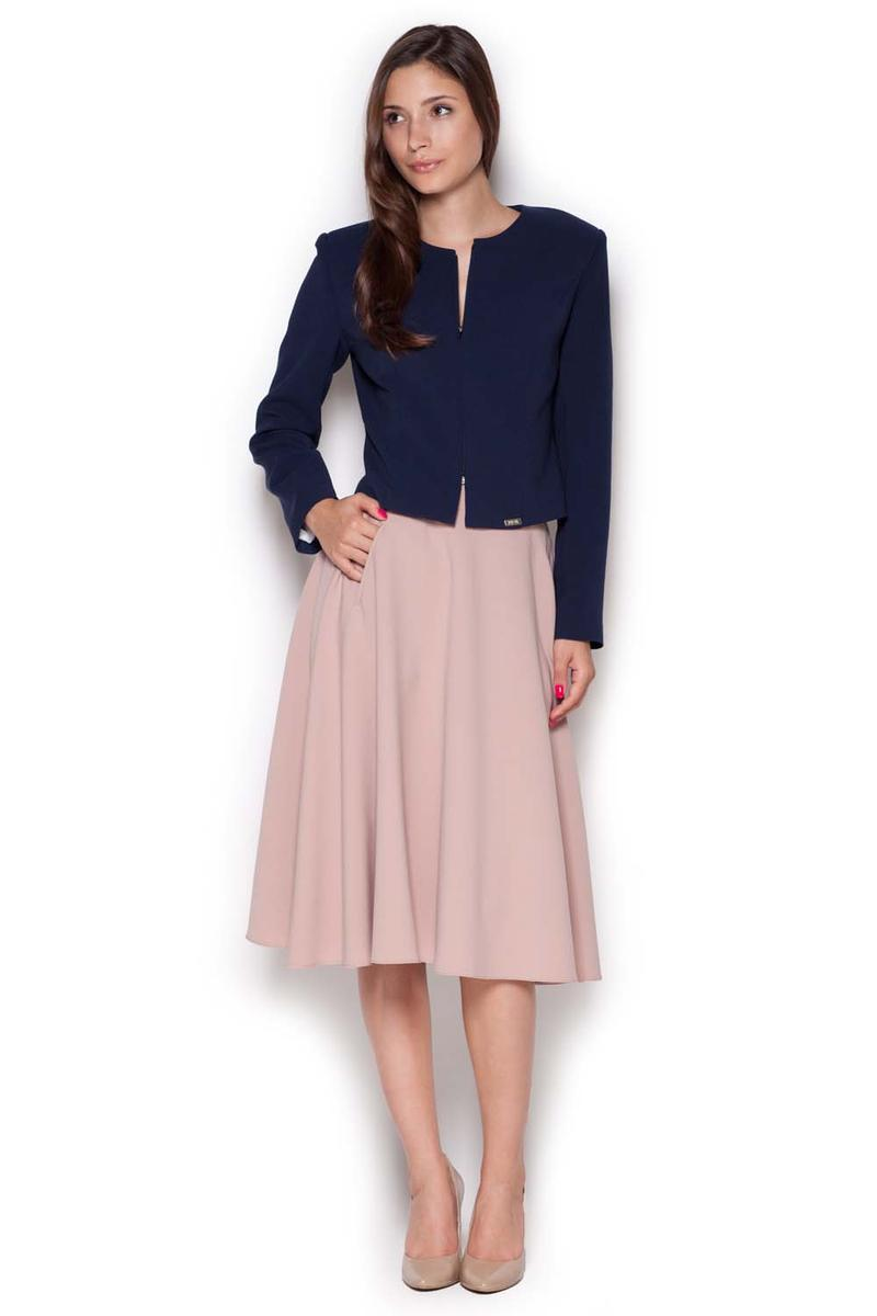Pale Pink Midi Length Pleated Skirt with Petite Belt