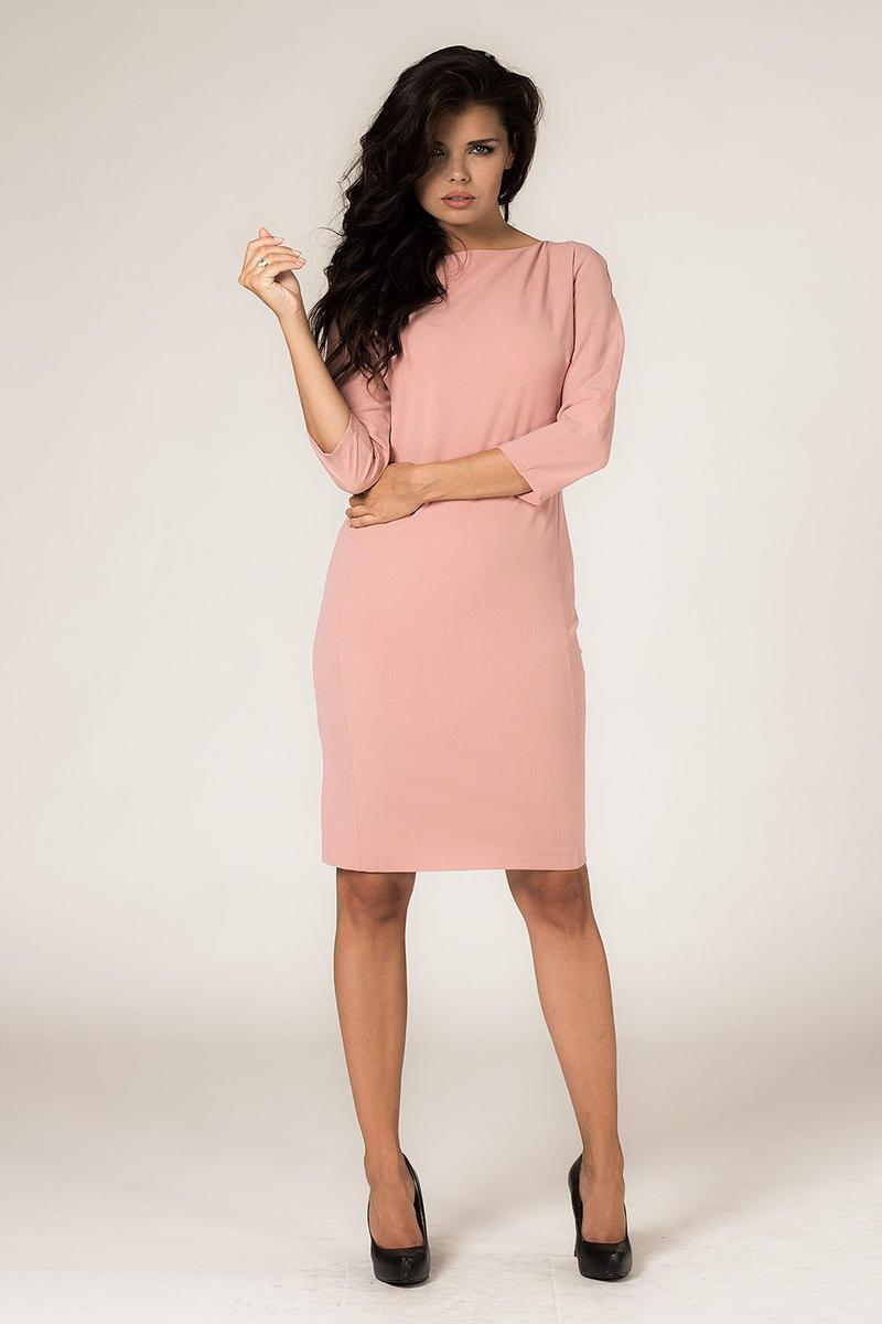Powder Pink Seam Shift Dress with Back Zip Fastening