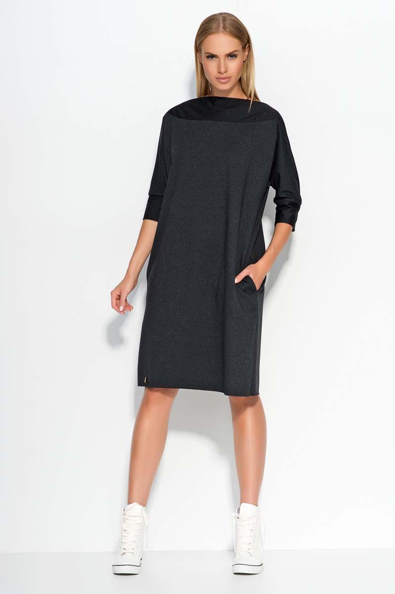 Dark grey oversized dress with bateau neckline