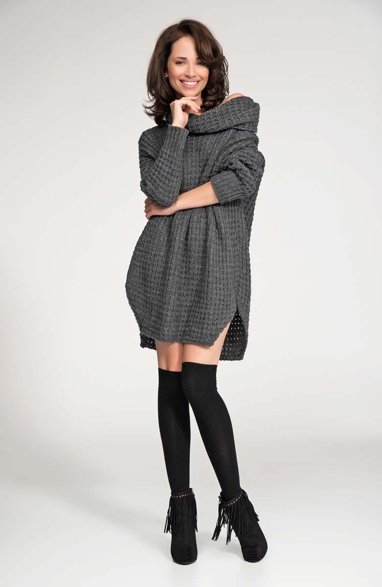 Dark grey long sweater with slits