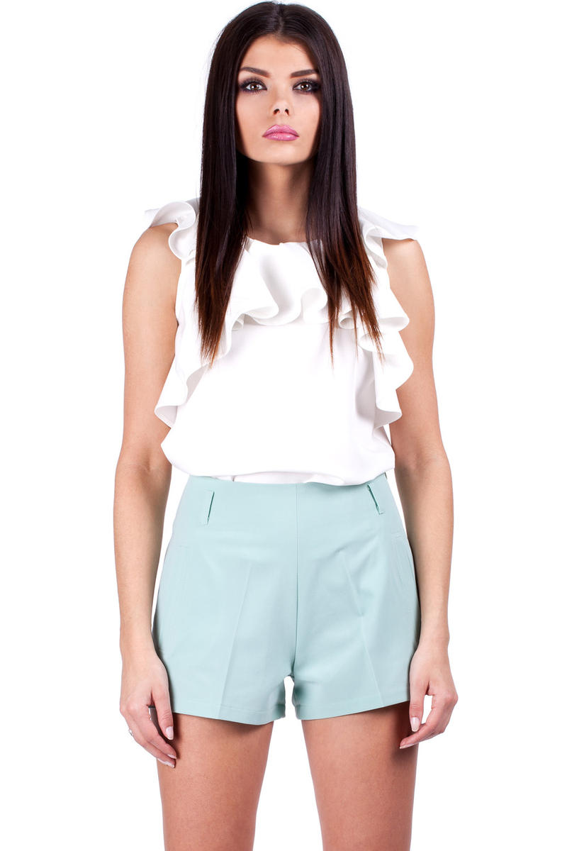 Mint Shorts with Loops and Hip Pockets
