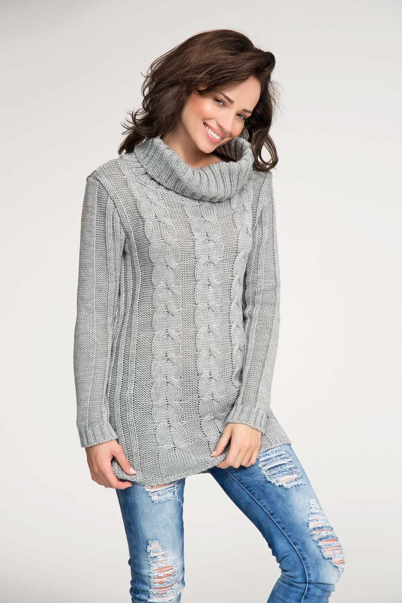 Grey turtle neck sweater with pattern knit