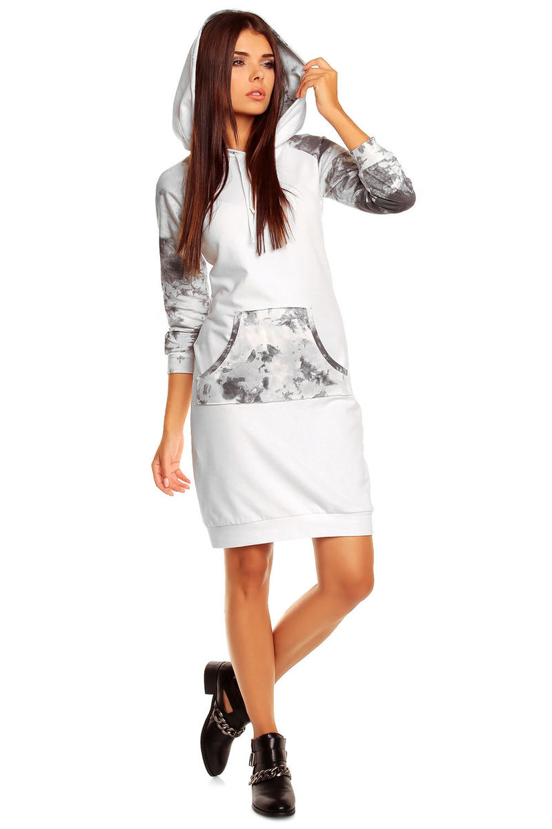 White Hooded Dress with Camouflage Details