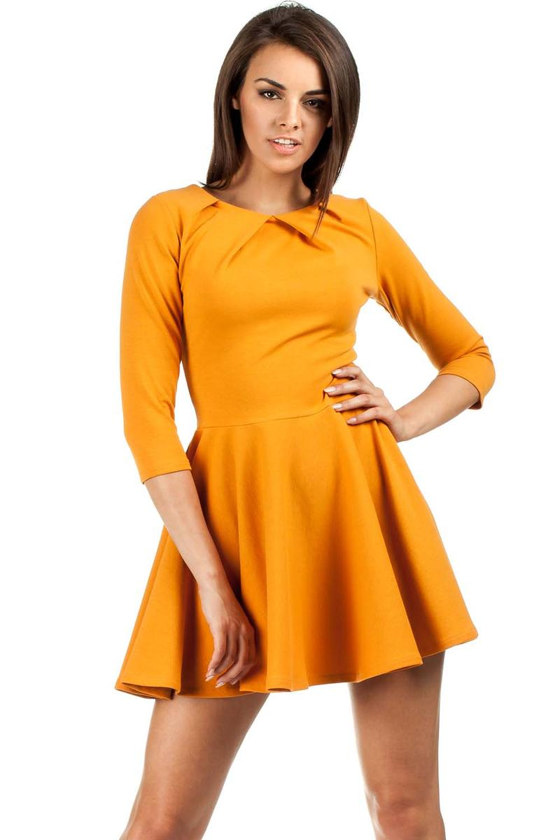 Yellow/Orange Pleated Neckline Flippy Dress
