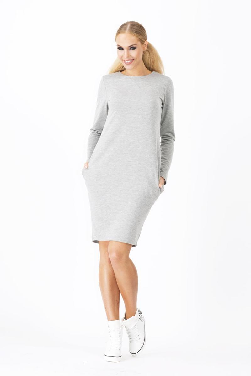 Long Sleeves Grey Dress with Side Pockets