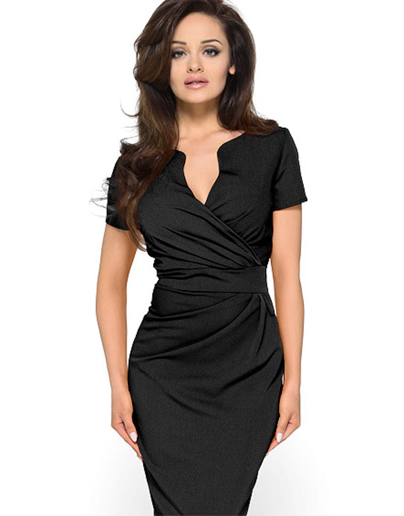 Wrap Around Self Belted Sheath Black Dress