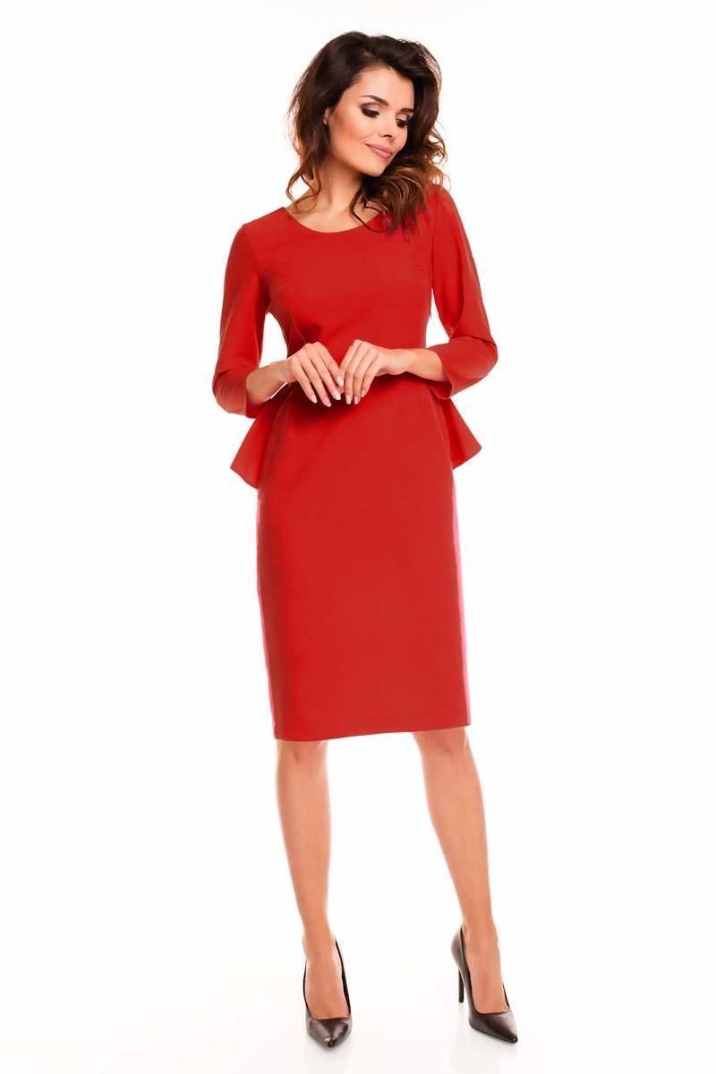 Red peplum dress with back slit
