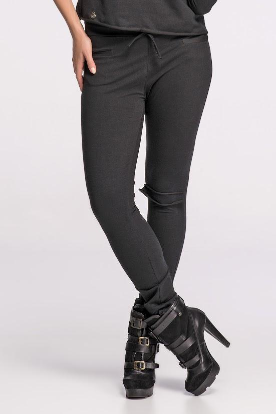 Black Skinny Trousers with Knee Pocket