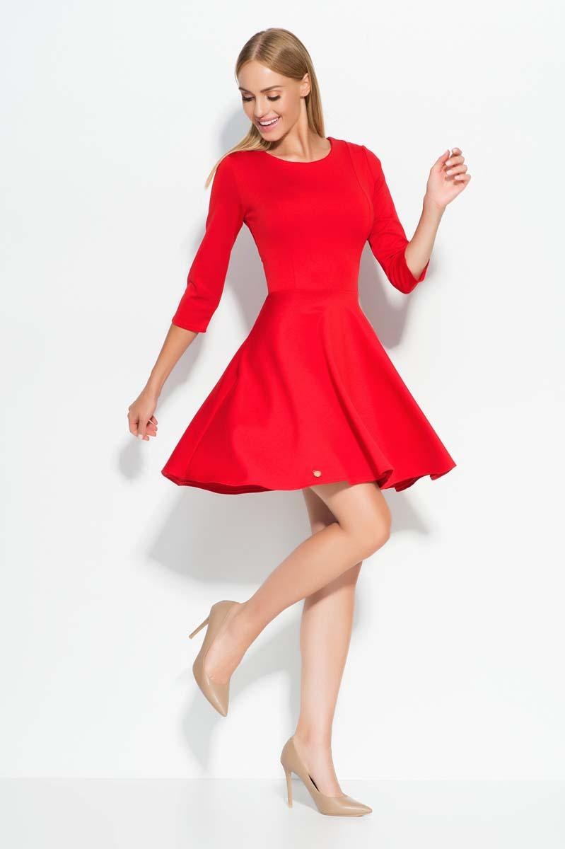 Red skater dress with seam bodice