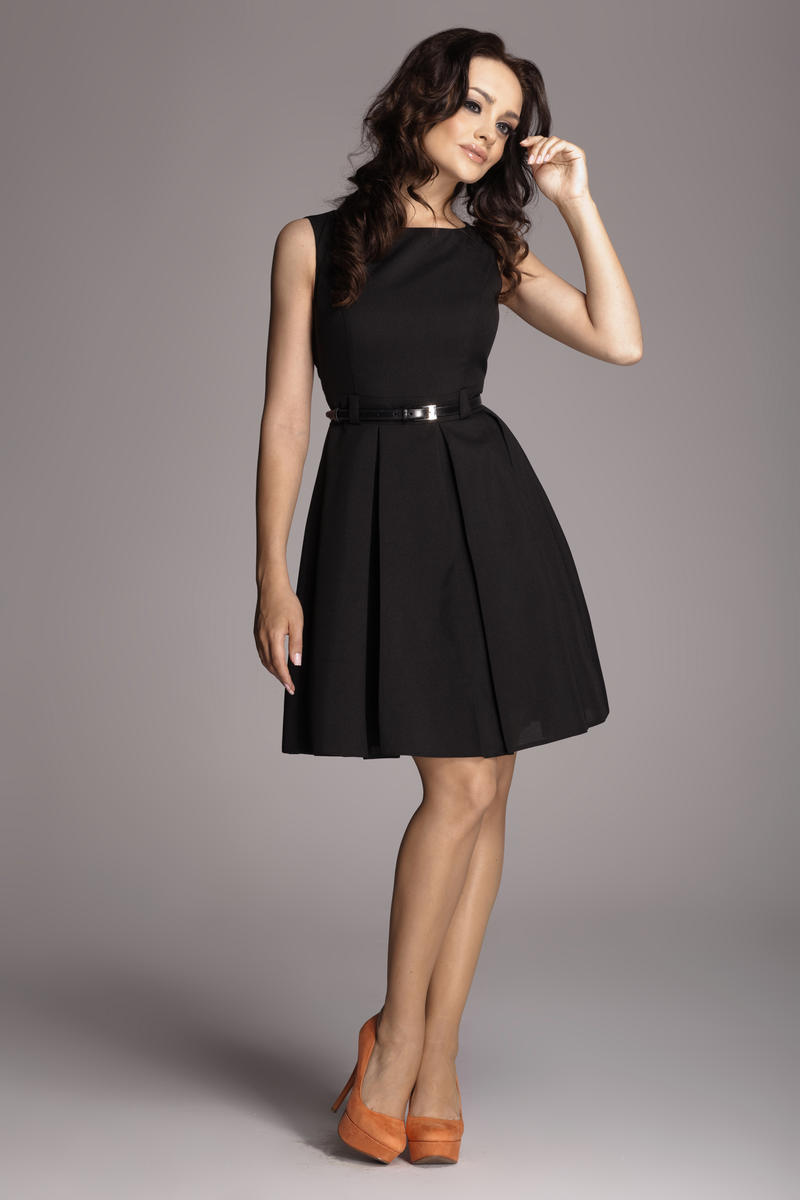 Image For Pleated Belted Sleeveless Black Dress with Seamed Top